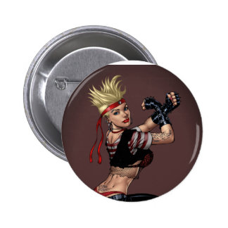Tough Blond Punk Girl - Ready To Fight by Al Rio Pinback Button