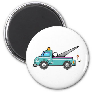 Tough Blue Tow Truck 2 Inch Round Magnet