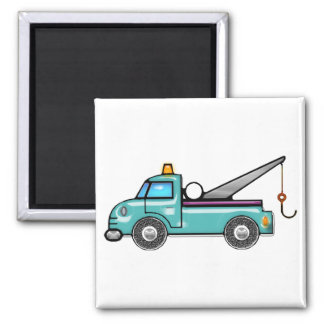 Tough Blue Tow Truck 2 Inch Square Magnet