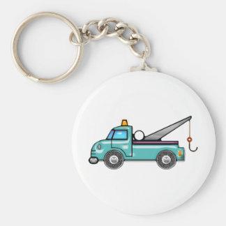 Tough Blue Tow Truck Basic Round Button Keychain
