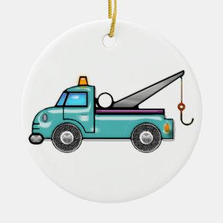 Tough Blue Tow Truck Ceramic Ornament