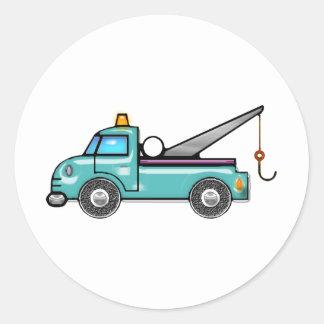 Tough Blue Tow Truck Classic Round Sticker