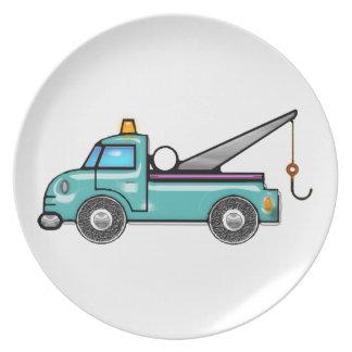 Tough Blue Tow Truck Dinner Plate