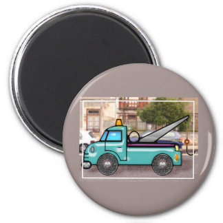Tough Blue Tow Truck in the Street 2 Inch Round Magnet