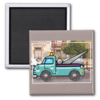 Tough Blue Tow Truck in the Street 2 Inch Square Magnet