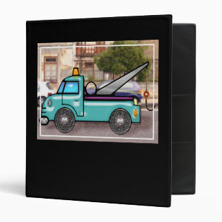 Tough Blue Tow Truck in the Street 3 Ring Binder