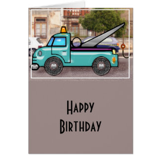 Tough Blue Tow Truck in the Street Card