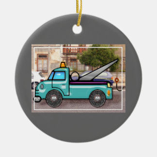 Tough Blue Tow Truck in the Street Ceramic Ornament