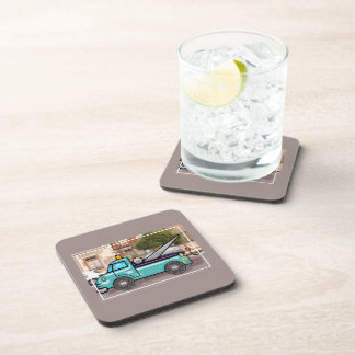Tough Blue Tow Truck in the Street Drink Coaster