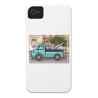 Tough Blue Tow Truck in the Street iPhone 4 Case-Mate Cases