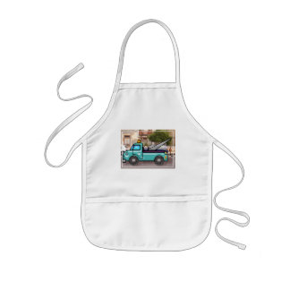 Tough Blue Tow Truck in the Street Kids' Apron