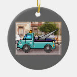 Tough Blue Tow Truck in the Street Christmas Ornaments