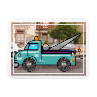 Tough Blue Tow Truck in the Street Rectangular Photo Magnet