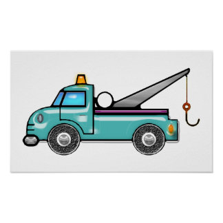 Tough Blue Tow Truck Poster