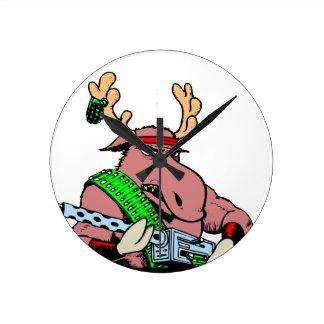 Tough Bull Moose Rambo Machine Gun Round Clock