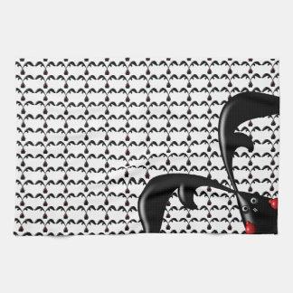 TOUGH BUNNY White- Cute Funny Boxer Rabbits Custom Kitchen Towel