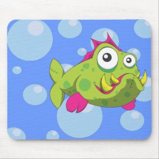 Tough cartoon fish mouse pad