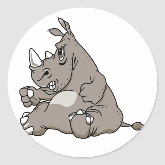 Tough Cartoon Rhino Classic Round Sticker
