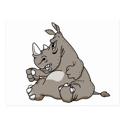 Tough Cartoon Rhino Postcard