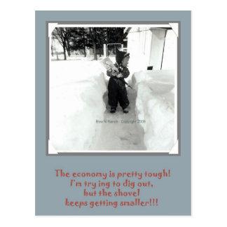 Tough Economy Boy Shoveling snow Postcard