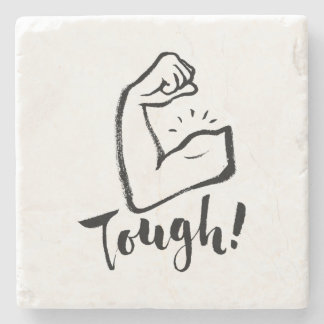 Tough - Hand Lettering Typography Design Stone Coaster