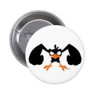 Tough lil' birdie :) button badge