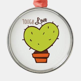 Tough Love Round Metal Christmas Ornament