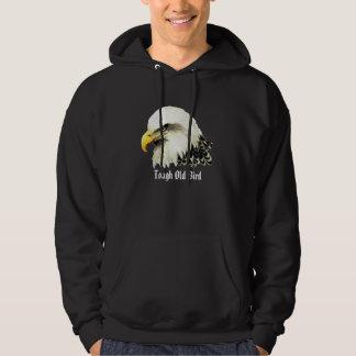 """Tough old Bird"" Humor Watercolor Bald Eagle Bird Hoodie"