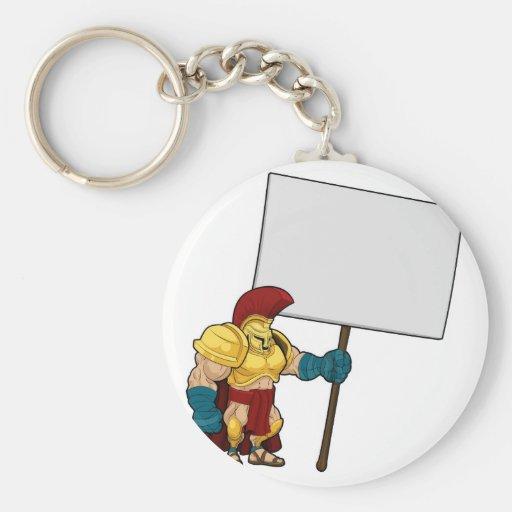 Tough Spartan or Trojan holding sign board Key Chains