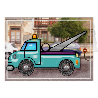 Tough Tow Truck in Street Blank Card