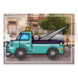 Tough Tow Truck in Street copy Card