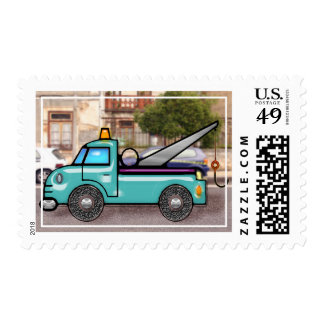 Tough Tow Truck in Street copy Postage Stamp