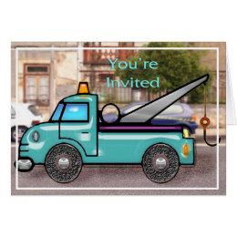 Tough Tow Truck in Street Invite