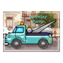 Tough Tow Truck in the Street Birthday Invitation