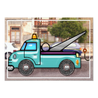 Tough Tow Truck in the Street Card