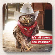 Tough Western Sheriff Owl with Attitude & Swagger Beverage Coaster