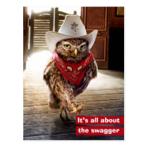 Tough Western Sheriff Owl with Attitude & Swagger Postcard