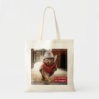 Tough Western Sheriff Owl with Attitude & Swagger Tote Bag