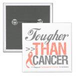 Tougher Than Cancer - Endometrial Cancer Pinback Button