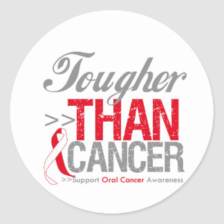 Tougher Than Cancer - Oral Cancer Round Stickers