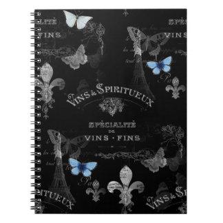 Toujours Paris Butterflies Collage Spiral Notebook
