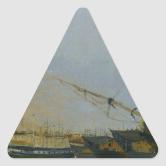 Toulon Battleships Dismantled by Camille Corot Triangle Sticker