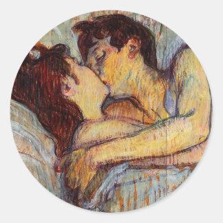 Toulouse-Lautrec en cama los pegatinas del beso Pegatina Redonda
