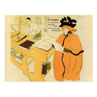 Toulouse-Lautrec - Jane Avril checking a print sam Post Cards