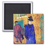 Toulouse Lautrec: Jane Avril Leaves the R. Refrigerator Magnets