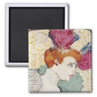 Toulouse-Lautrec Mademoiselle Marcelle vintage art 2 Inch Square Magnet