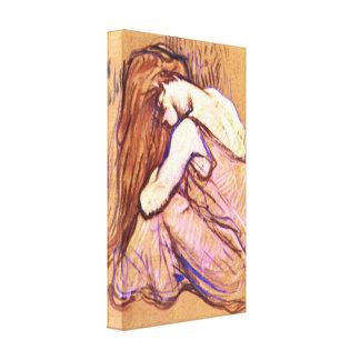 Toulouse-Lautrec - mujer que peina el pelo Lona Envuelta Para Galerias