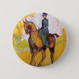 Toulouse-Lautrec Woman on Horse Button