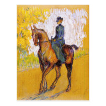 Toulouse-Lautrec Woman on Horse Postcard