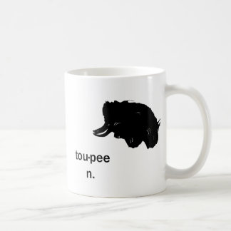 Toupee cup. classic white coffee mug